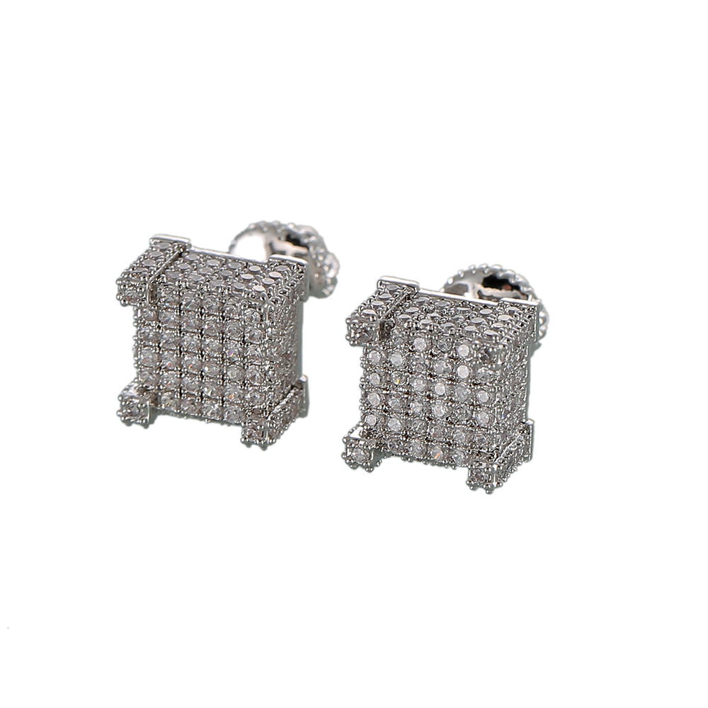 Classy Square Micro-Inlaid Earrings for Dinner Dates