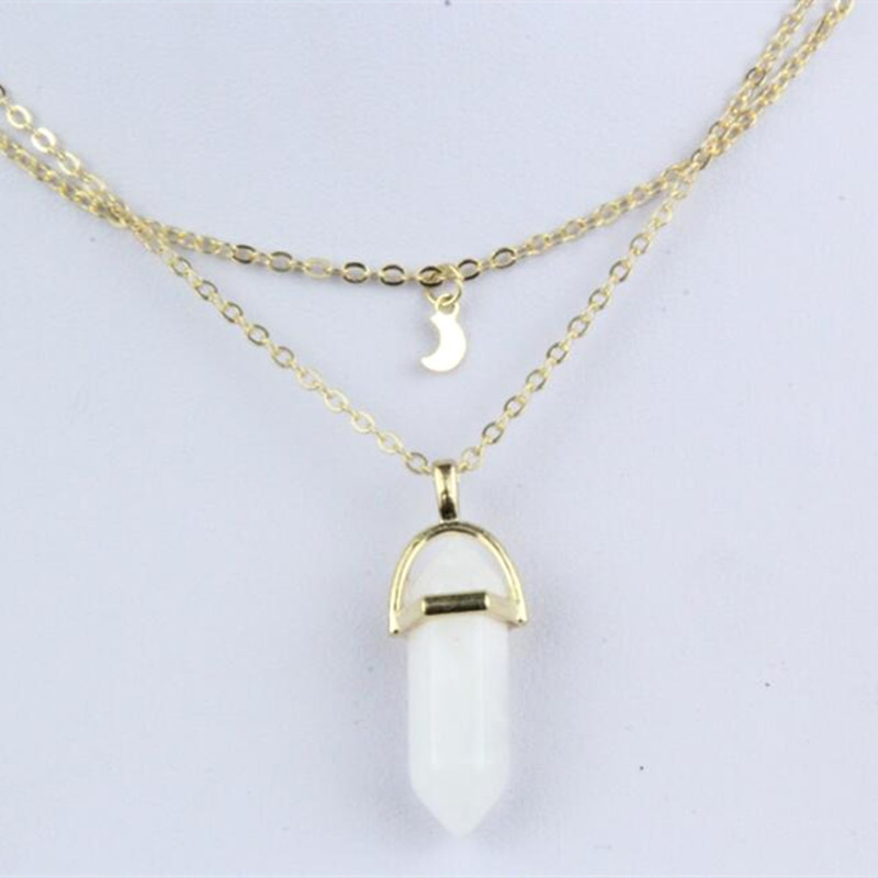 Moon and Crystal Protective Charms Necklace