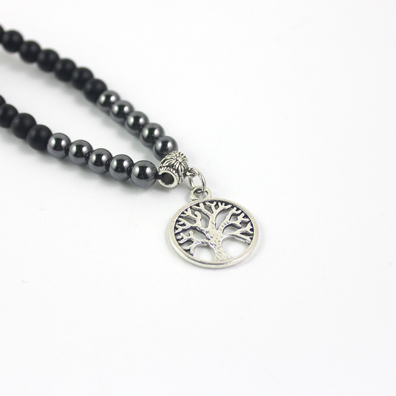 Simple Palm/Tree Pendant Beaded Necklace for Casual Outfits