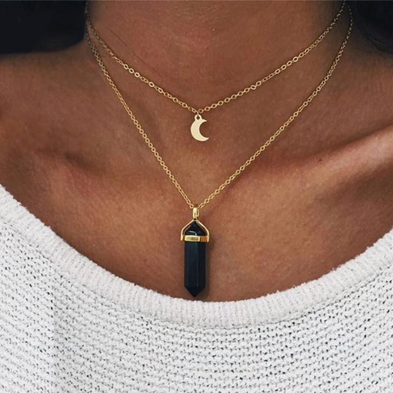 Black and White Lucky Moon Necklace