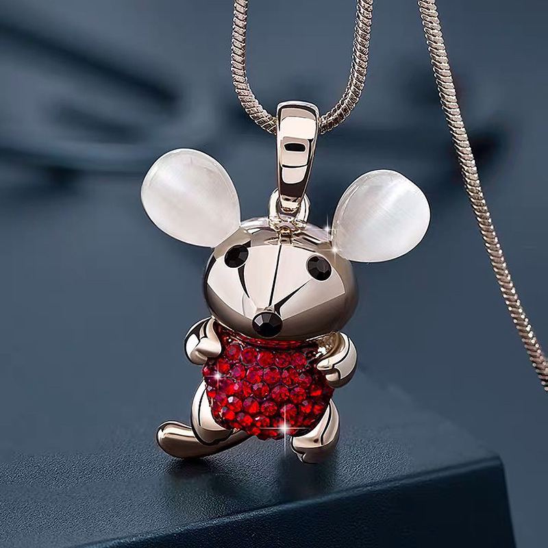 Embellished Chinese Zodiac Rat Pendant Chain Necklace for Hip Looks