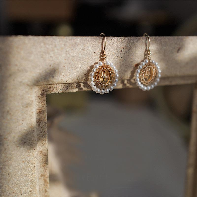 Pearl and Lace Style Earrings