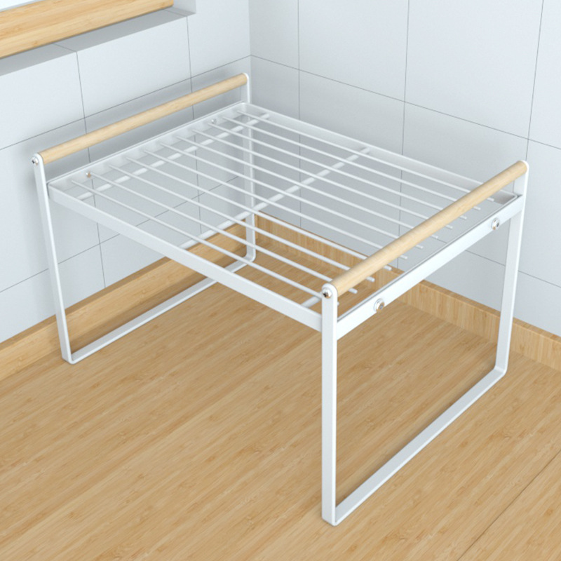 Kitchen Iron Rack with Wooden Handle