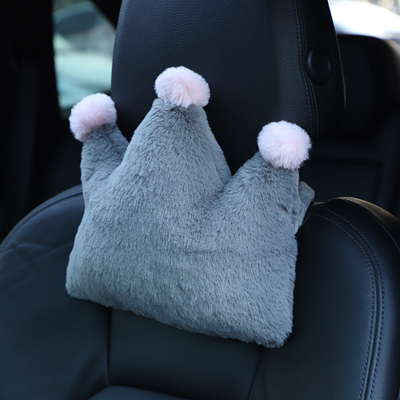 Adorable Crown-shaped Neck Headrest and Lumbar Pillow for Comfortable Road Trips