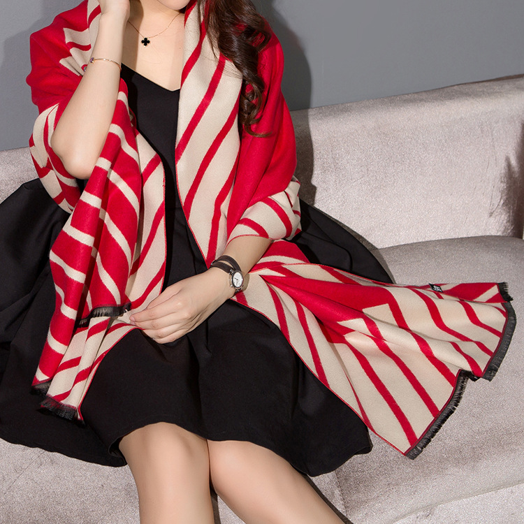 Thick Warm Large Printed Imitation Cashmere Fringed Scarf for Warmth on Winter Seasons