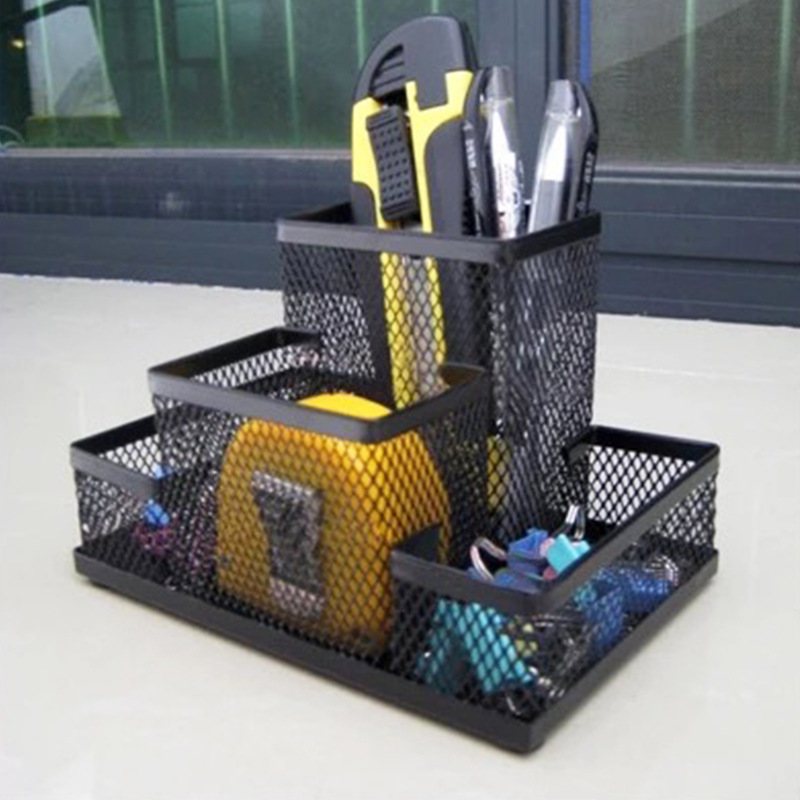 Metal 4-Partition Mesh Pen Holder for Office Supplies