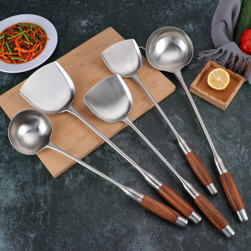 Stainless Steel Cooking Utensil with Wooden Handle for Traditional Homes