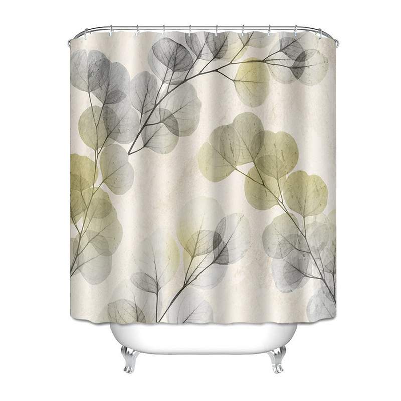Fancy Leaves and Flowers Waterproof Shower Curtain