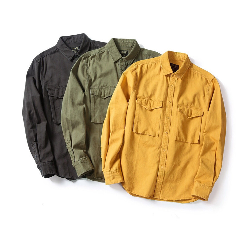 Rugged Solid-Colored Shirt Jacket for Casual Wear