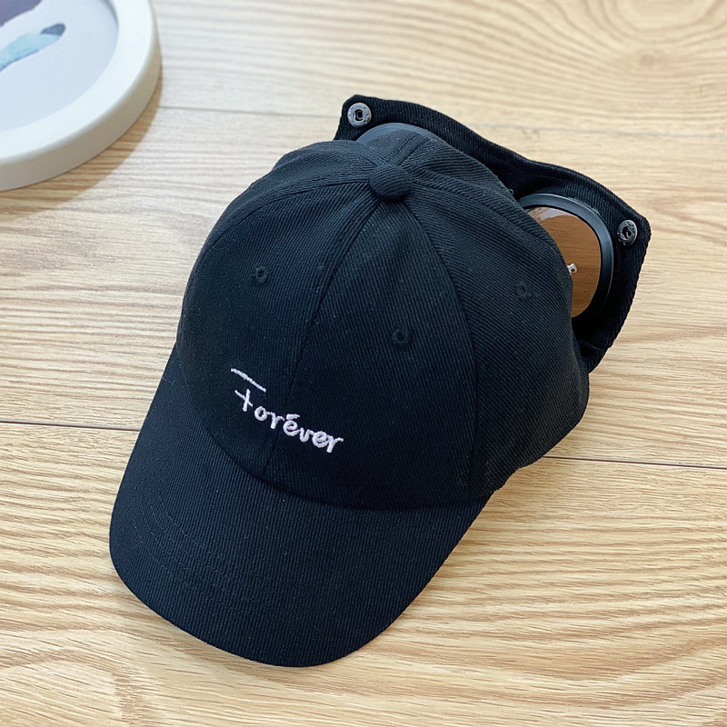 Fashionable Solid Color Pilot Baseball Cap with Glasses for Kid's Stylish Looks