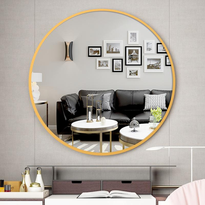 Bordered Round Bathroom Mirror