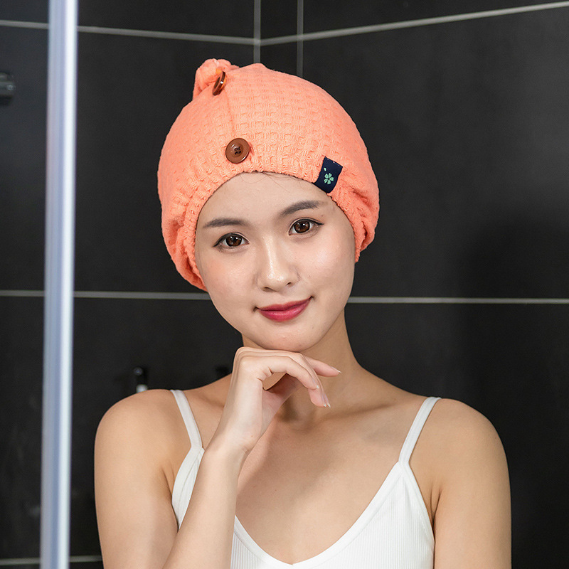 Waffle Patterned Superfine Fiber Hair Cap Towel for Soft Hair