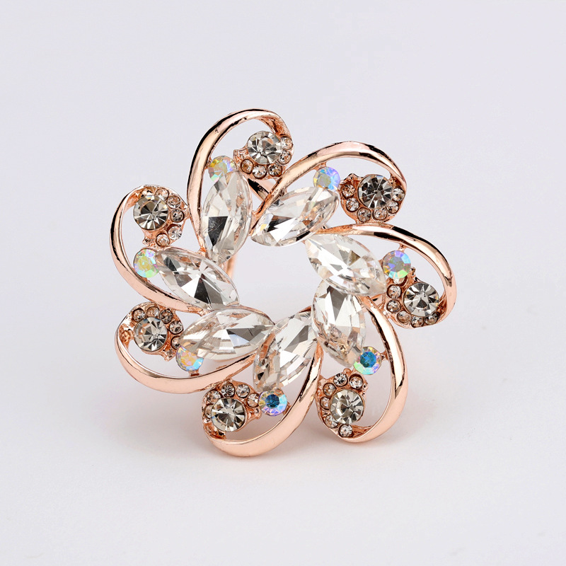 Artificial Gem Wheel Scarf Buckle for Scarves and Shawls