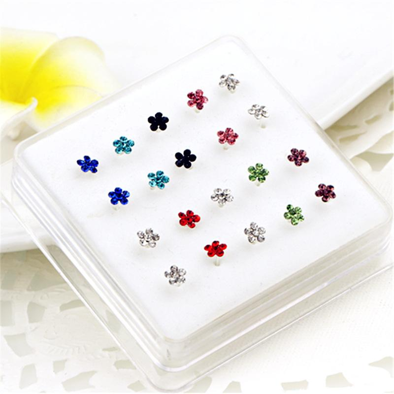 Crystal Flower Silver Nose Studs