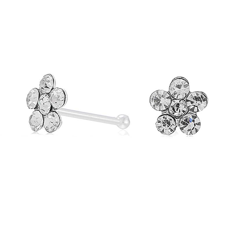 Silver Nose Studs with Flower Crystal Top