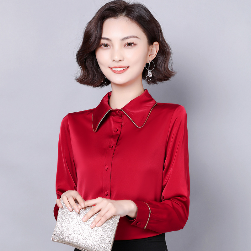 Sensible Mulberry Silk Long Sleeve Blouse for Formal Wear Attire