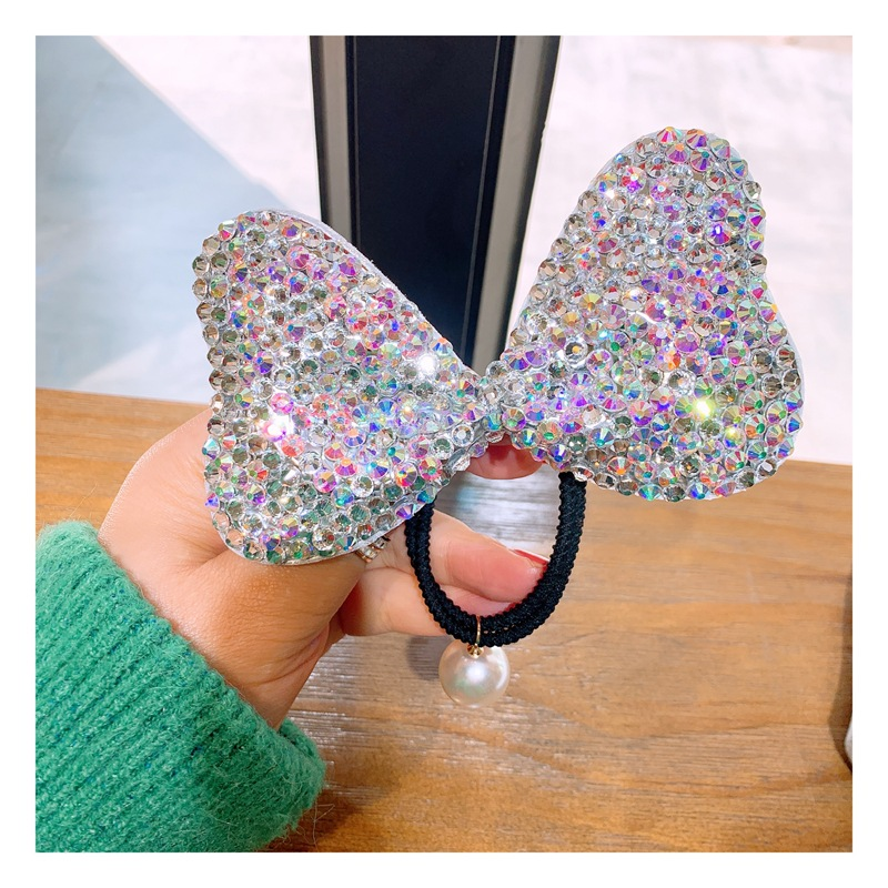 Shimmering Large Bow Rhinestone Hair Tie for Girly Hairstyles
