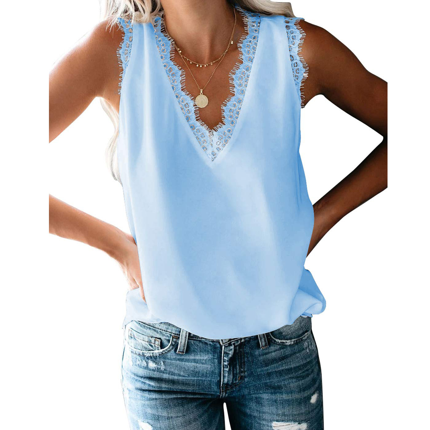 NEW! Western Style Lacey Sleeveless Top for Ladies