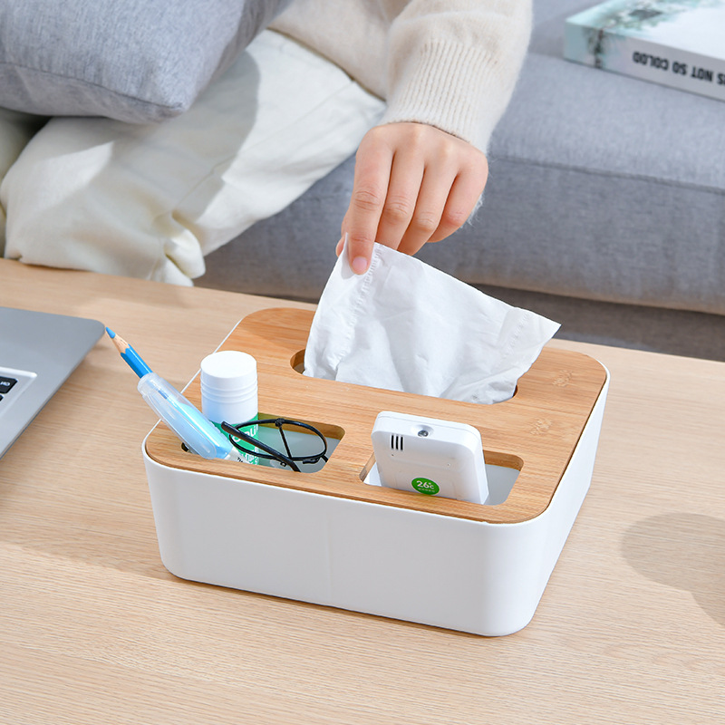 Wooden Top Multifunctional Tissue Box Cover for Dining Room Decor