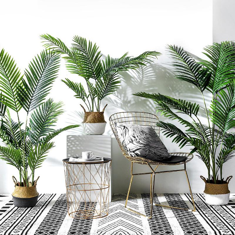 Potted Artificial Palm Leaves