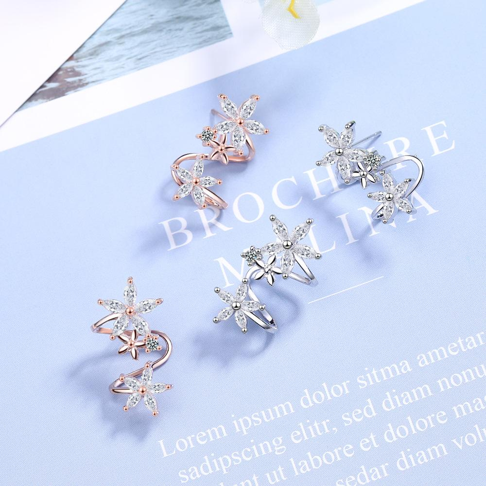 Shiny Flowers Twisty Ear Cuff for Creative Floral Outfits
