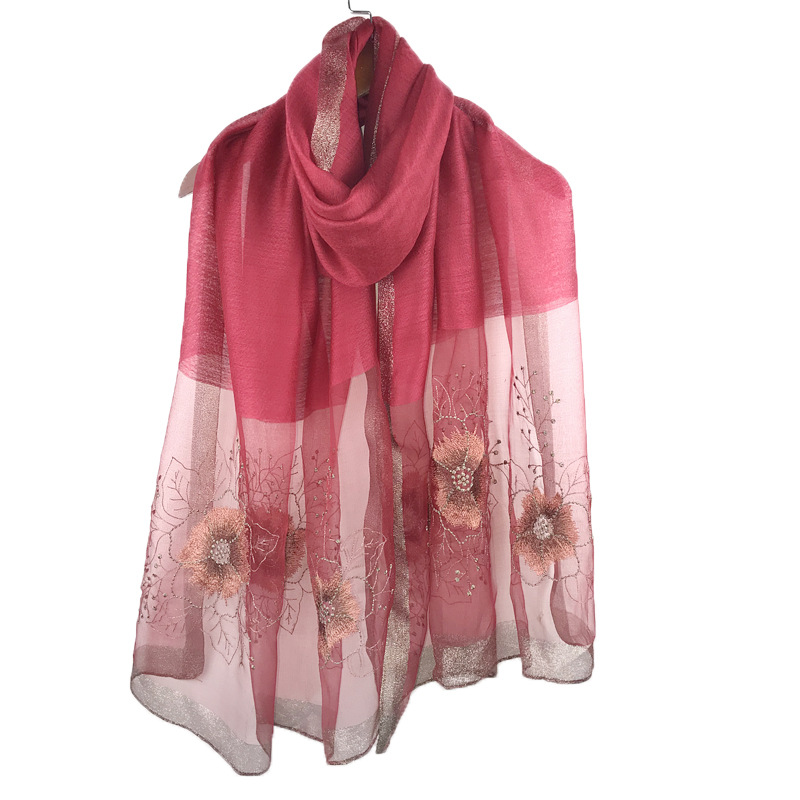 Comfy Floral Silk Shawl for Casual Use