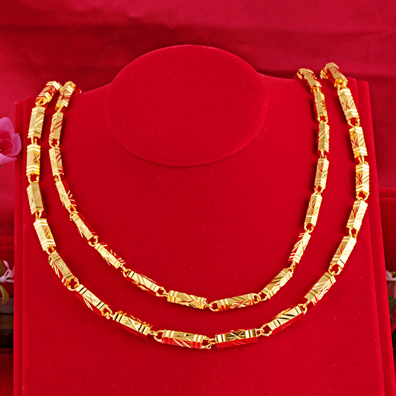 Pure Hexagon Gold Necklace for Fashionable Style