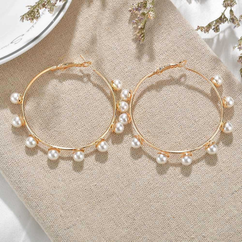 Pearl on Oversized Hoops Earrings