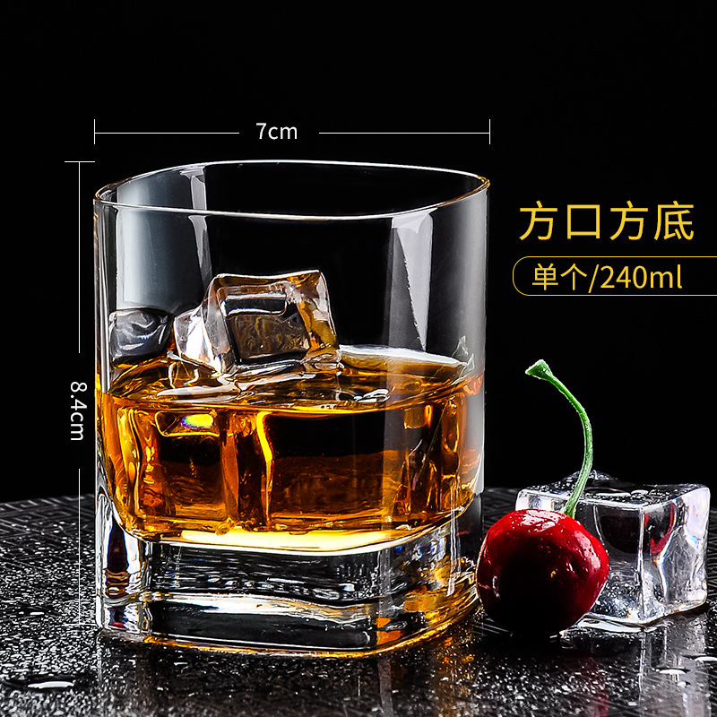 Classic Flat-Bottomed Clear Glass for Drinking Liquor
