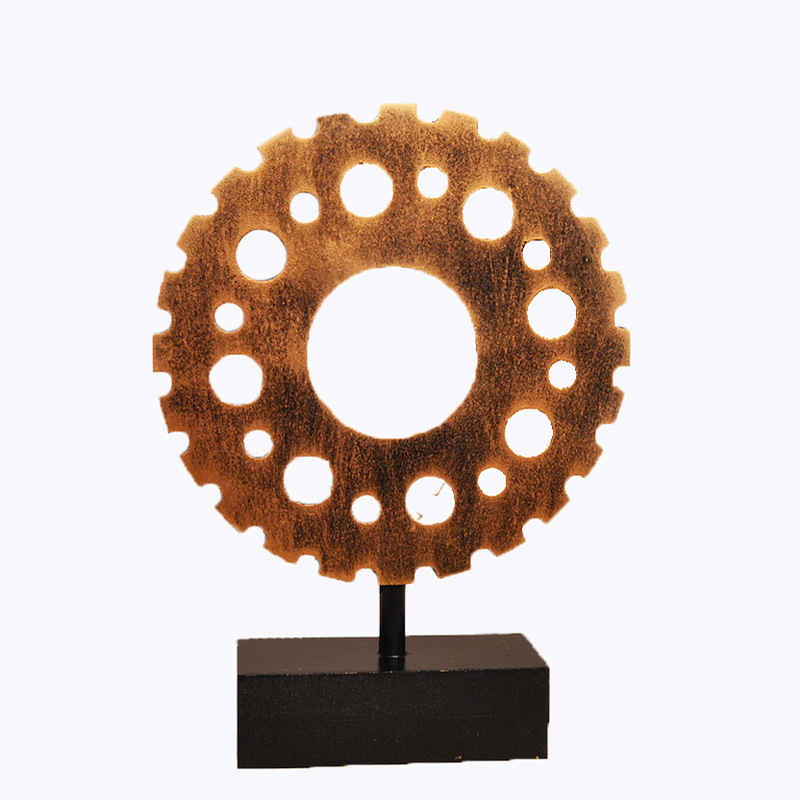 Vintage Wooden Gear Decor for Office Ornament