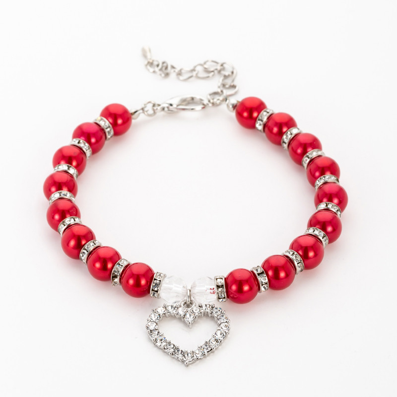 Faux Pearls and Heart Pet Collar