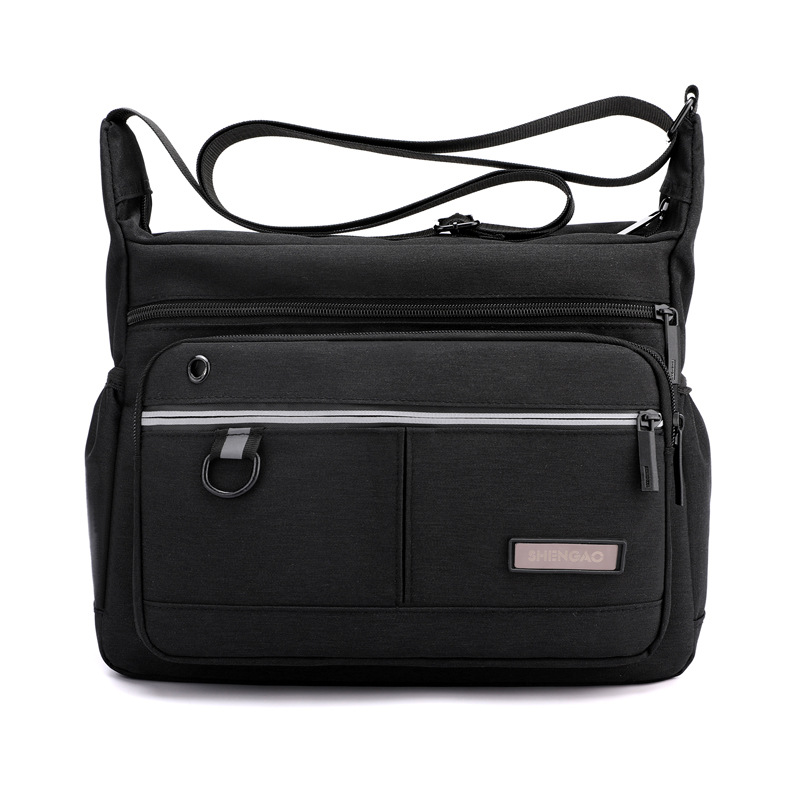 Multi-Compartment Horizontal Canvas Cross Body Bag for Daily Travel