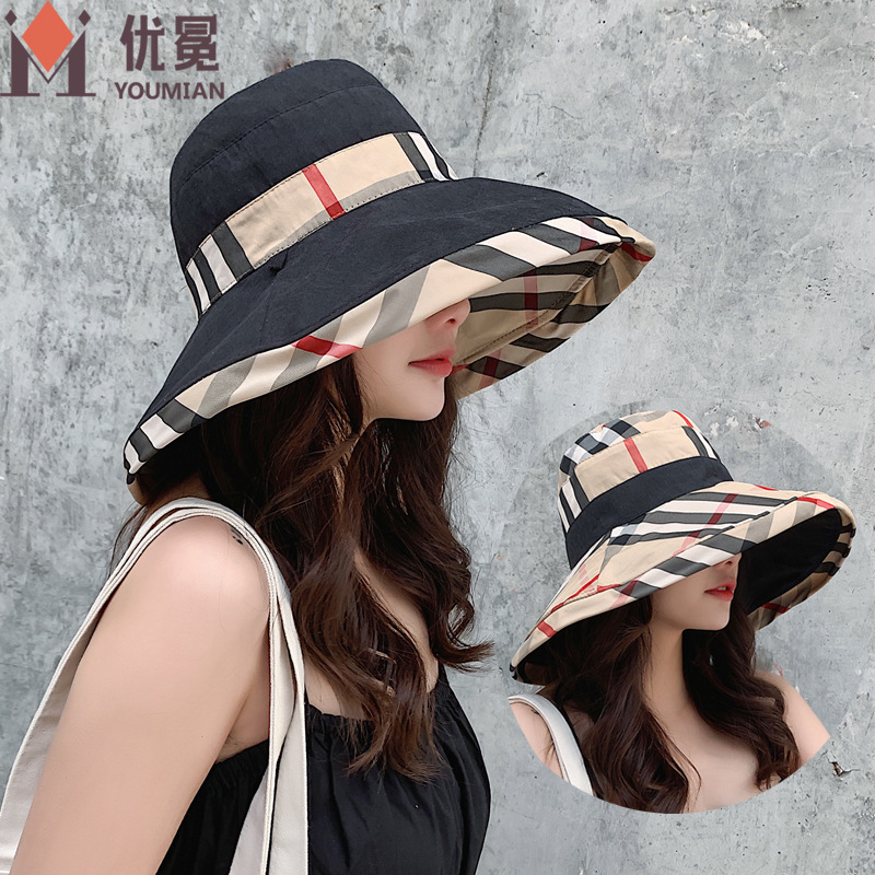 Classic Color Plaid Sunshade Hat for Fashion Style