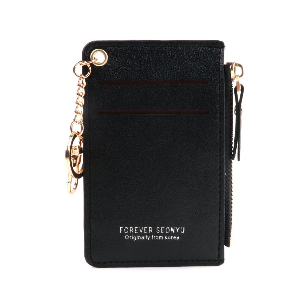 Plain Faux Leather Wallet with Zipper for Card Holder