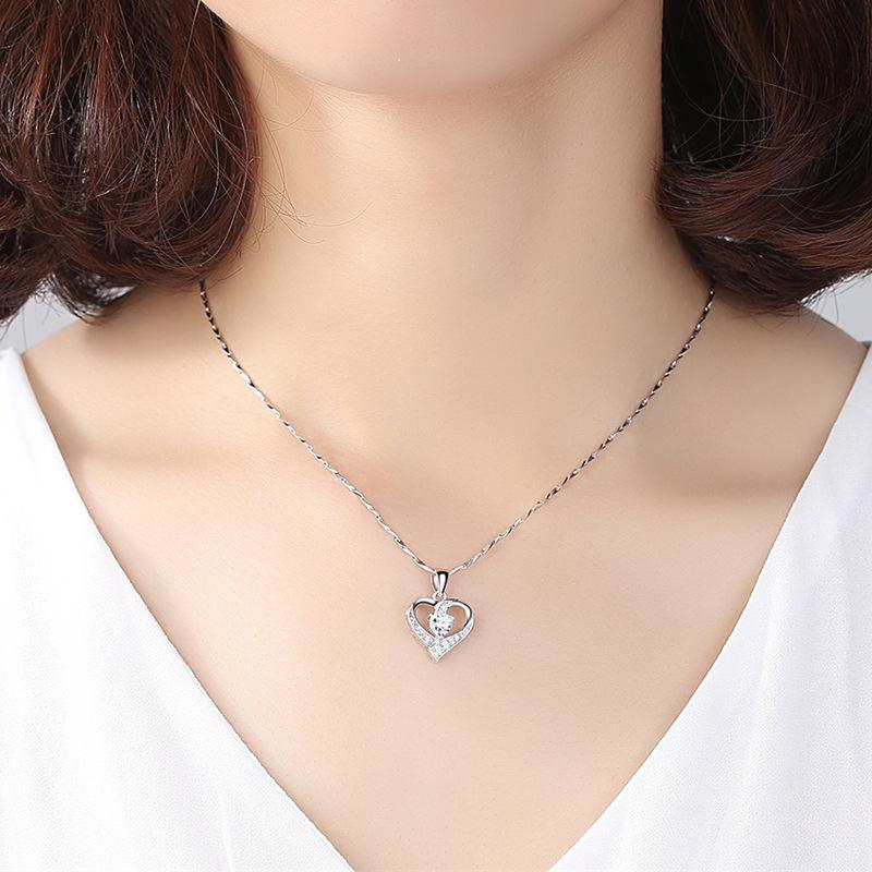 Mini Crystals on Sterling Silver Heart Pendant