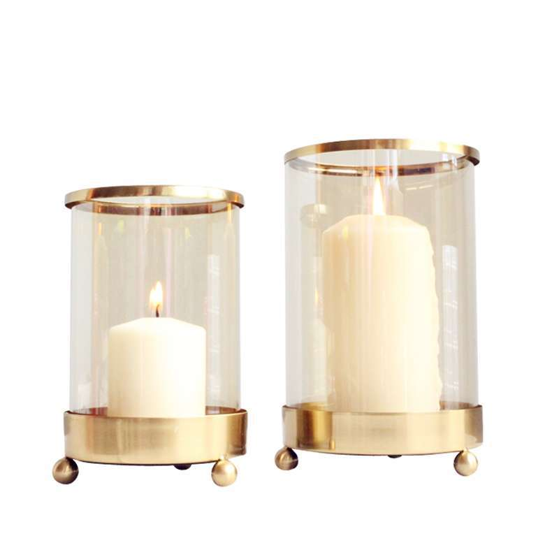 Classic Minimalist Glass Candle Holder with Gold Details for Romantic Home Ambience