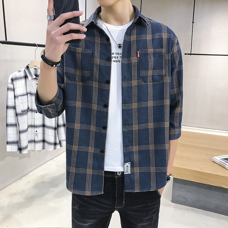 Stylish Three-Quarter Sleeve Button-Up Shirt for Smart Casual Wear
