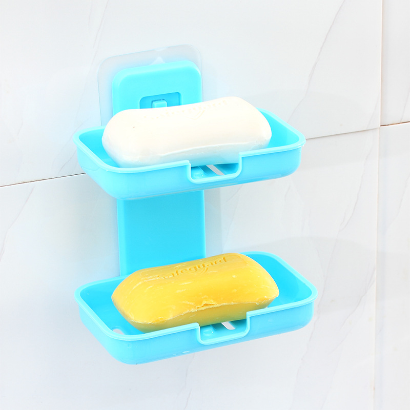 2-Tiered Multicolored Plastic Soap Rack for Colorful Bathrooms
