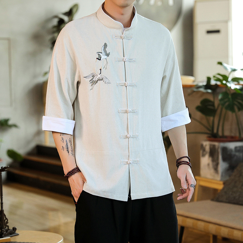 Mandarin Shirt with Embroidered Print for Men's Fashion