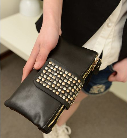 Edgy Faux Leather Studded Clutch Wallet for Holding Cards and Bills