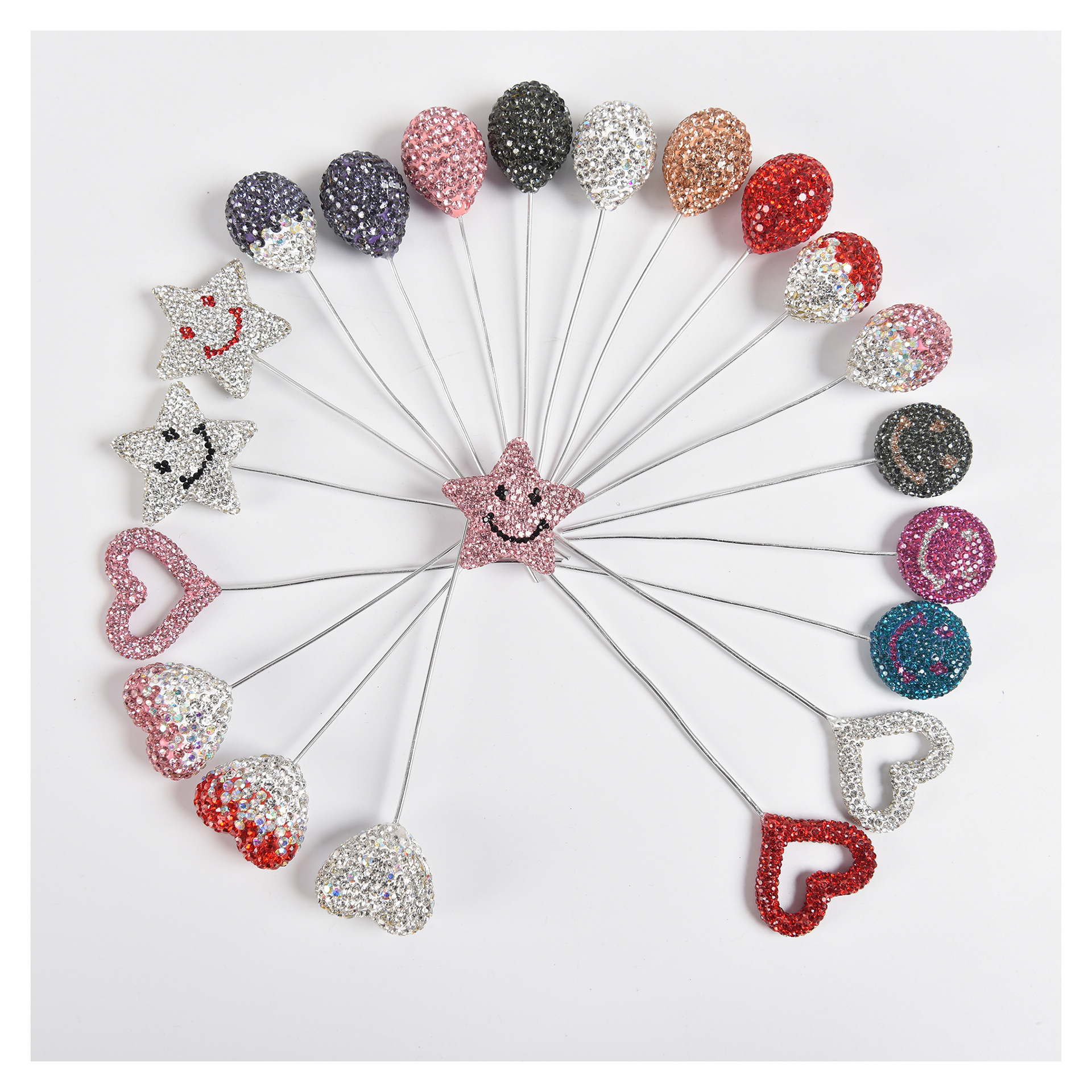 Glimmering Rhinestone Small Round Shape Car Ornaments for Travelling