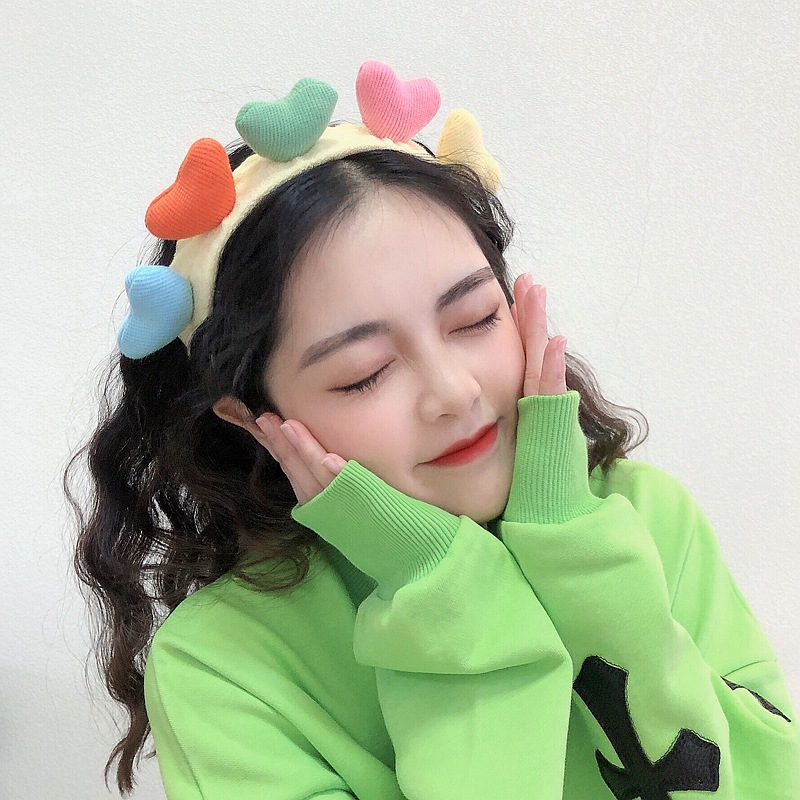 Cute Colorful Super Stretchable Headband with Hearts Design for Summer Fashion Wear