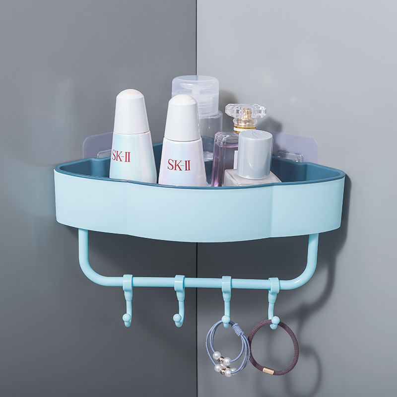 Colored Corner Rack and Hooks for Organized Bathrooms