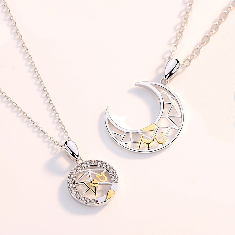 Glimmering Moon Pendant Necklace for Gender-Neutral Accent Use