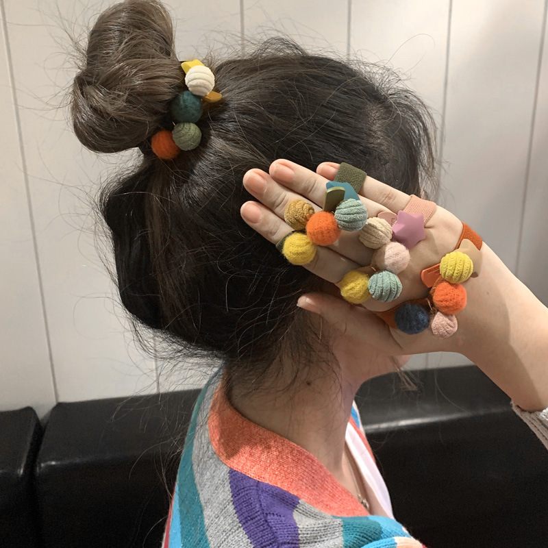 Multicolored Hair Rope Hair Tie with Balls and Star Design for School Braids