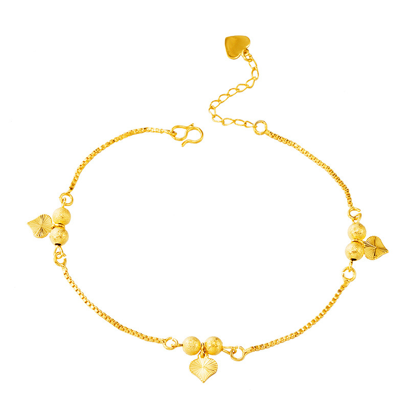 Mini Gold Hearts Charm Anklet