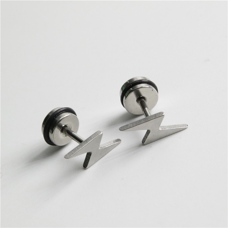 Simple Lightning Pattern Earrings for Men and Women