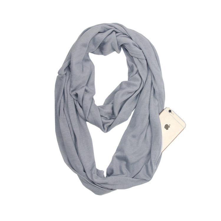 Modern and Chic Infinity Scarf with Secret Pocket for Evening Jog
