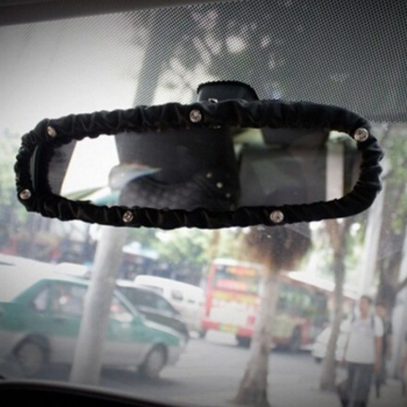Faux Leather Mirror Cover for Stylish Rear-View Looks
