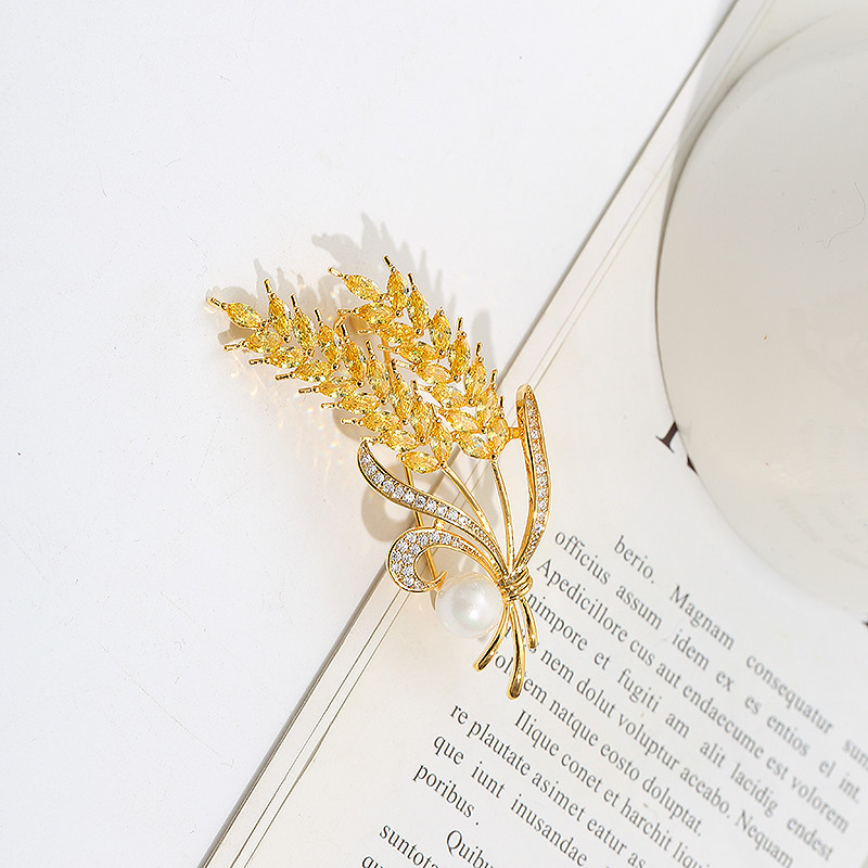 Golden Yellow Wheat Brooch for Business Attire